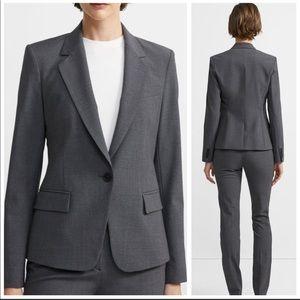 Theory Gabe Stretch Wool Blazer in Charcoal Gray 0